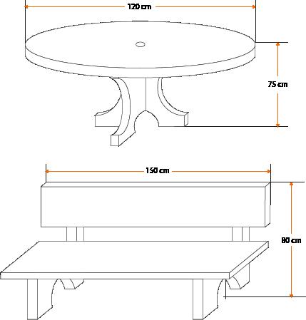 Esquema - Mesa para jardines y exteriores