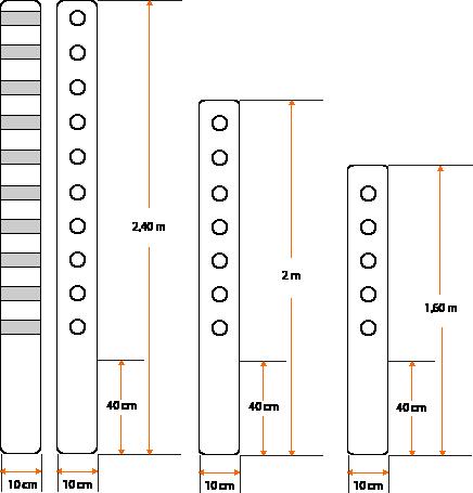 Esquema - Poste de hormigón modelo recto